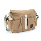 khaki Casual canvas shoulder bag