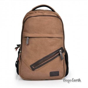 Canvas Backpacks For Schools, Coffee Laptop Computer Bags For Men