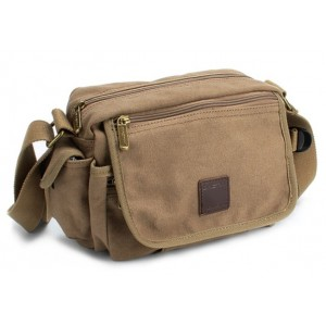 khaki canvas shoulder bag popular design color
