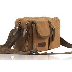 khaki small canvas messenger bag