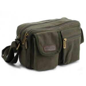 army green small canvas messenger bag